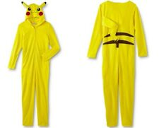Pokemon PIKACHU Union Suit Men's Large NeW Hooded Zip-Up Yellow Pajamas Pjs NWT