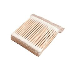Wattestäbchen100 X Doppelt Kopf einseitig 80mm Holz Cotton Stock Unsteri-~^