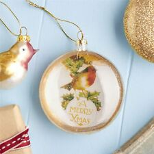 Glass Robin Disc Bauble Christmas Tree Decoration By Gisela Graham