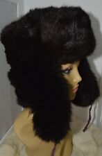Luxury Faux Fur Trapper Hat Brown Russian Cossack Unisex Ski Style Size M