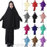 Muslim Kids Girls Maxi Dress Long Hijab Islamic Prayer Kaftan Arab Maxi Clothes