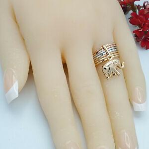 Multi Tone Gold Plated Good Luck Elephant Ring.  Oro Laminado.