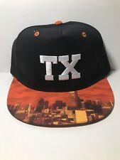 ABG Texas Snapback Hat Mens Flat Bill City Orange Black NEW with Tags.