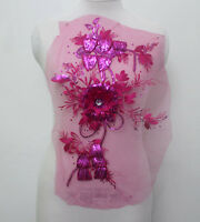 1Piece Embroidery Tulle Sequin Crystal 3D Flower Applique/Patch~Sew On Rose Red