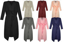 New Womens Ladies Duster Waterfall Belted Long Sleeve Trench Coat Jacket Fashion