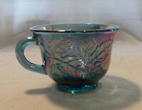 INDIANA GLASS BLUE CARNIVAL GLASS PUNCH BOWL CUP HARVEST GRAPE PATTERN (B14)