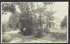 RPPC Real Photo Postcard New Rochelle NY ~  Woman Stands Near Tree In Driveway