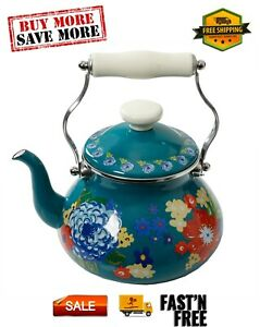 The Pioneer Woman Dazzling Dahlias Enamel on Steel 2 Quart Tea Kettle Multicolor