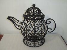 Ornamental Wrought Iron Black Teapot W/Lid~Tabletop~Wallhangin g