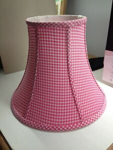 """POTTERY BARN GIRLS LAMP SHADE 6"""" Top 12"""" base 9.5"""" tall bell shape PINK GINGHAM"""