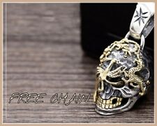 HALLMARKED STERLING SILVER SKULL DRAGON PENDANT NECKLACE LARGE VINTAGE TWO TONE