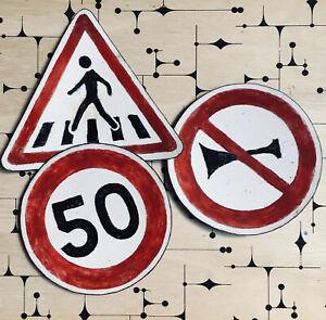 3 Coupelles Métal Émaillé Panneaux Code de la Route Travail d'Artiste