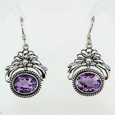 Not Enhanced Oval Amethyst Fine Earrings