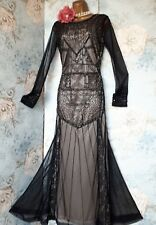 vintage frock and frill black lace  bead 20s deco gatsby evening gown dress 10