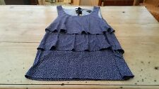 Anne Taylor Summer Blouse Top S UK 8/10 US 4/6 EU 36/38 Navy Blue + White Spots