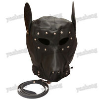 PU Leather Doggy/Puppy Full Hood Mask Costume With Eyes-patch & Month Zipper