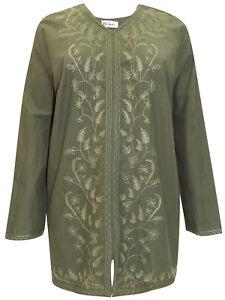 Ulla Popken KHAKI Cotton Leaf Embroider Top 16-18 20-22 24-26 28-30 32-34 36-38