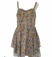 Living Doll Floral Dress Size 12 Brown Green Fit Flare Party Lined Rockabilly