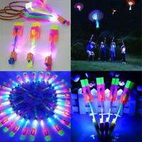 Led Light Arrow Rocket Helicopter Flying Toy Party Fun Gift Elastic 12pc Amazing