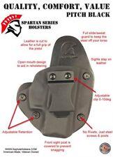 Glock 19/23 IWB Hybrid Holster, Black Kydex, black leather, Inside Waistband
