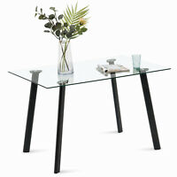 Modern Glass Dining Table for 4/6 Rectangular Kitchen Table for Dining Room