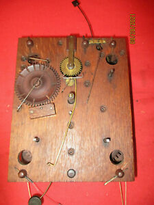 ORIGINAL NICE  LOOKING   WOOD WOODEN WORKS WEIGHT CLOCK MOVEMENT  WITH ALARM