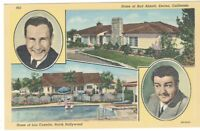 Postcard Linen CA Home Of Bud Abbott Lou Costello Hollywood Encino Vintage 1940s