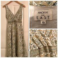 ANOKHI for EAST DRESS Block Print Beige Grey Floral Holiday Cruise Boho UK 10