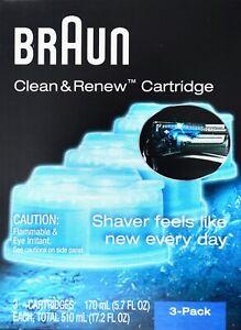Braun Clean & Renew System Cartridges Refills CCR3 Series 3 5 7 9 Shaver, 3 Pack