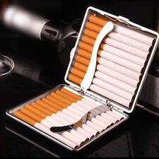 HOT Fashion Black Leather Metal Tobacco 20 Cigaret Cigarette Case Box Holder US