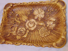 Vintage 1940s Molded Wood Tray by Multi Products Inc Floral Unique Letter Fruit