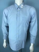 Mens VTG Yves Saint Laurent 16.5 16 1/2 Large 32/33 Oxford Blue White Stripes