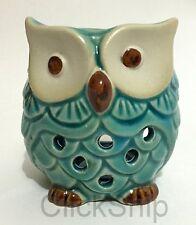 Ceramic Light Blue Owl Burner Warmer Essential Oil Incense 7cm (F)