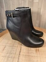 Isaac Mizrahi Live! 7.5W Leather Wedge Ankle Boots Gold Buckle Black Leather