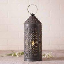 "18"" Chimney Lantern in Blackened Tin | Decorative Rustic Accent Lamp"