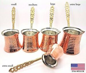 Turkish Traditional Hand Hammered Stove Top Copper Coffee Pot,Greek Ibrik Cezve