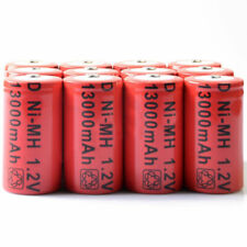 12x D size 1.2V 13000mAh Ni-MH Red Color Rechargeable Battery USA