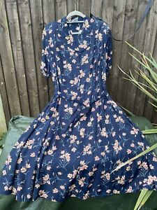 Eastex Retro 1940s Blue Apricot Tea Dress Size 20