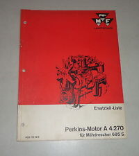 Parts Catalog Motor a 4.270 in Massey Ferguson Combine Harvester 685S, 08/1962
