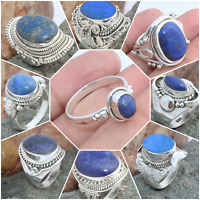 LAPIS LAZULI 925 SOLID STERLING SILVER HANDMADE JEWELRY RINGS IN ALL STONE SHAPE