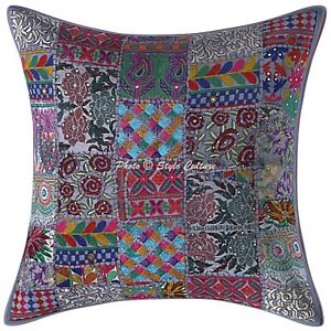 Ethnic Cushion Cover 60x60 cm Patchwork Cotton 24x24 Abstract Throw Pillow Cover