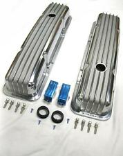 Chevy Nostalgic Polished Aluminum Finned Valve Covers Baffled Old School Vintage