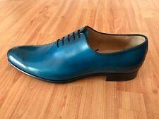 Blue handmade oxford with burnished finish-Francesco Benigno