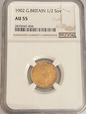 Great Britain 1902 Gold 1/2 Sovereign AU 55 Edward VII