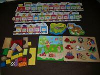 Bundle kids puzzle (wooden puzzles, alphabet train, wooden blocks)