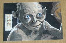 2014 Cryptozoic Hobbit Unexpected Journey LOTR SKETCH card Paul Cowan GOLLUM 1/1