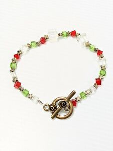 Artisan Bronze Tone Red Green Square Glass Christmas Star Bracelet 8.5 Inches