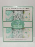 """Muslin Swaddle 3 Pack Baby Blanket Mg Soul Design Unisex 100% Cotton 47""""x47"""""""