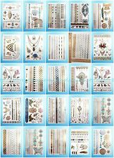 24 sheets/lot flash tattoo metallic gold silver rub on tattoos for adults
