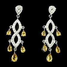 Natural Gema AAA Rico Citrino Amarillo 2p Diamante Pendientes de Plata 925
